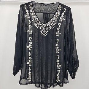 Alfani Black Sheer Embroidered Blouse